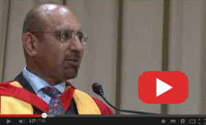 Zulfi Hussain giving his acceptance speech at University of Bradford for his Honorary Doctor of Education Award.